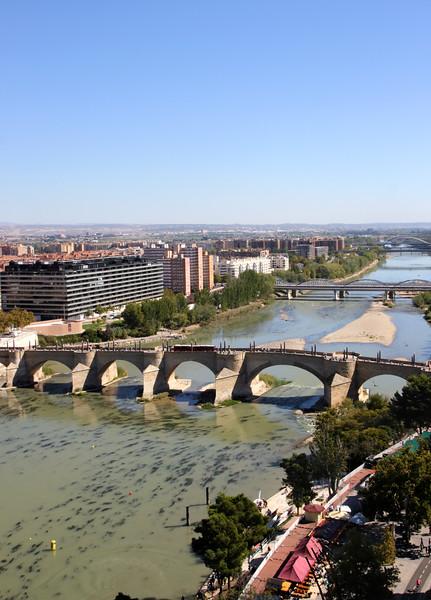 Aerial View of Puente de Piedra Stone Bridge across Ebro River Zaragoza Spain