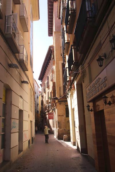Calle Santa Cruz alley in Zaragoza Spain