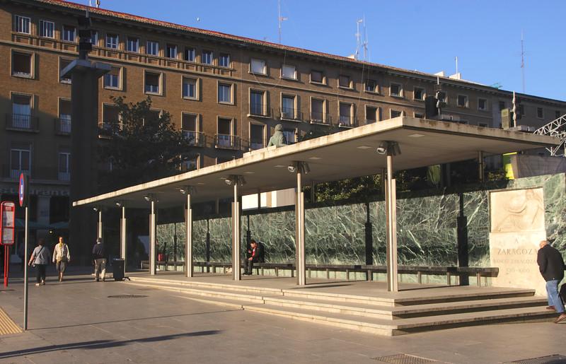 Bus Stop in Plaza del Pilar Zaragoza Spain