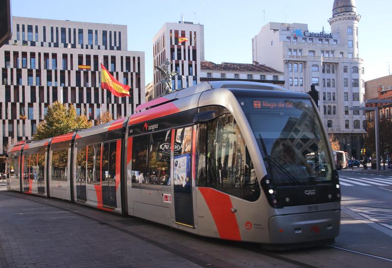 Tram in Plaza Espana Zaragoza Spain