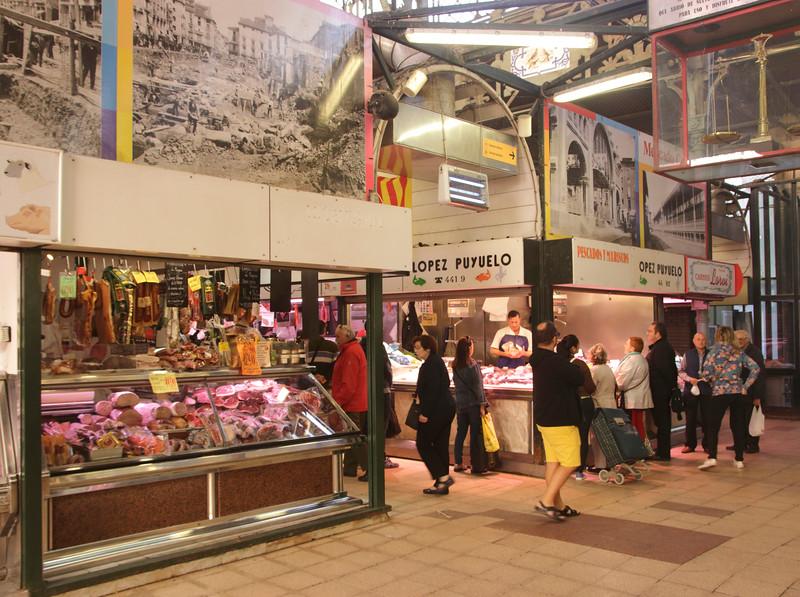 Interior of Central Market Zaragoza Spain