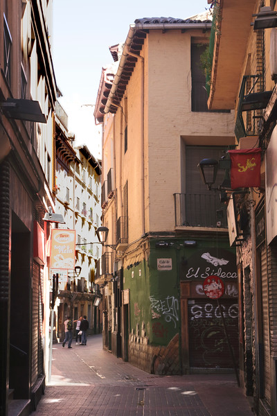 Calle Contamina alley in old city centre Zaragoza Spain