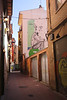 Calle Contamina alley in old city centre Zaragoza Spain