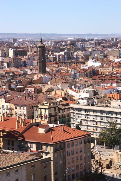 Old city centre skyline Zaragoza Aragon Spain