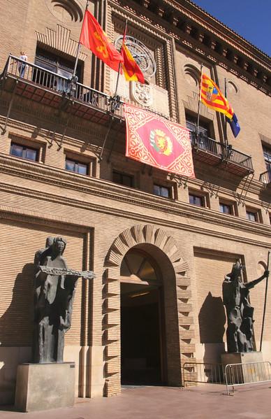 Entrance to City Hall Plaza del Pilar Zaragoza Spain