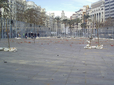 The after math of the midday bombs, (fireworks) during Falles festival in Valencia.  This entire square is full of fire works that go off every day for a month.