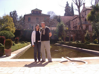 Caleb and Tanya at the Alahmbra. Notice Caleb´s European sweater.