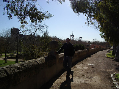 Caleb in Valencia, along side a river bed which has been diverted and developed into a park.