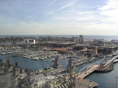 Port Vell, view from top of Columbus tower.