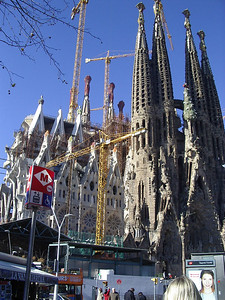 Gaudi´s masterpiece, Sagrada Familia, which has been under constructionf for about 100 years, and is nowhere near completion, but they estimate it will be done in 2020.