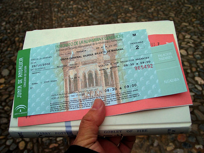 A ticket to Alhambra - Granada, Spain, December 2002 (We went to the ticket counter before dawn to get the tickets for the day since number of admissions was very limited.) (processed and added in 2010)