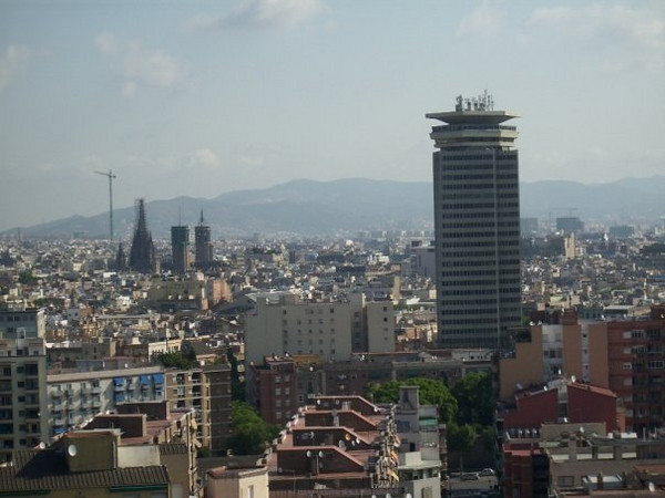 Barcelona from top of hill