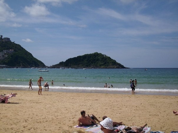 On the beach in San Sebastian