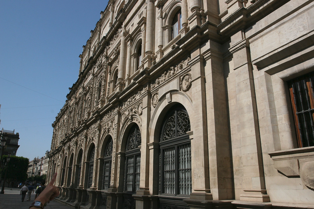 Seville's city hall. The ornate part on the left was built when Spain was flush with cash from the new world. The part on the right was built later, after the riches were gone there was no money left and thus a plain facade