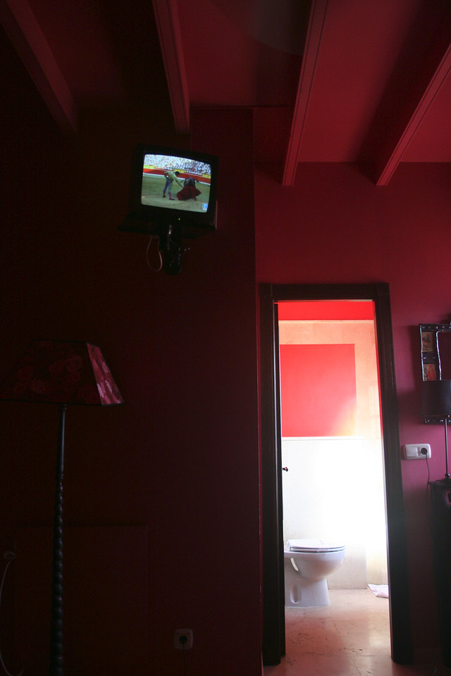 Our room, a little pink. Ben watched many bull fights on the TV