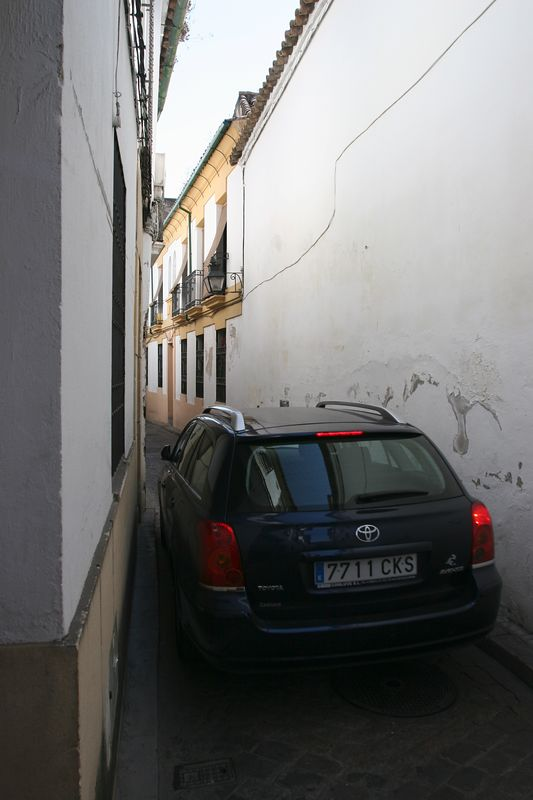 Streets are so narrow cars that did not fold their mirrors in tended to scrape the walls