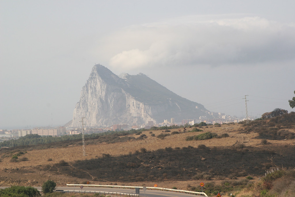 First sighting of Gibraltar, rising almost like a building from the sea