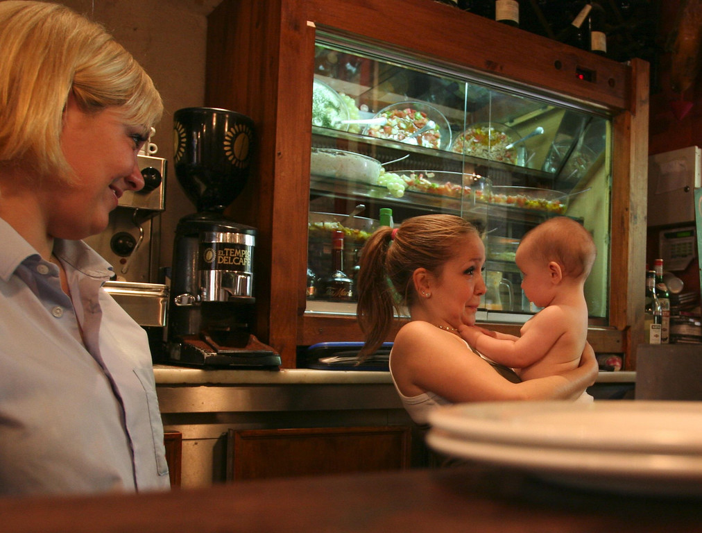 This little girl visited her mom in the bar where the mom works