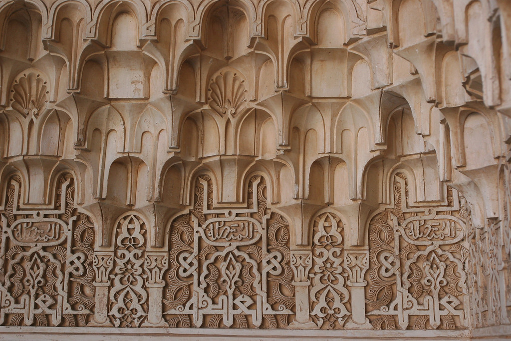 The intricate plaster was carved into 3 dimensional shapes