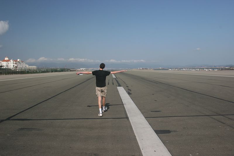 To cross into Gibraltar, a little piece of Britain, you have to cross the runway. Here Ben tries his hand at taking off