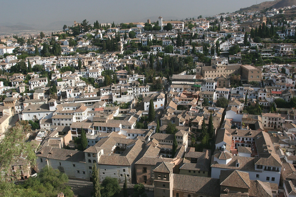 Albeizin, arab quarter, from the Alhambra. Albeizin is one of the best preserved moorish quarters in Europe