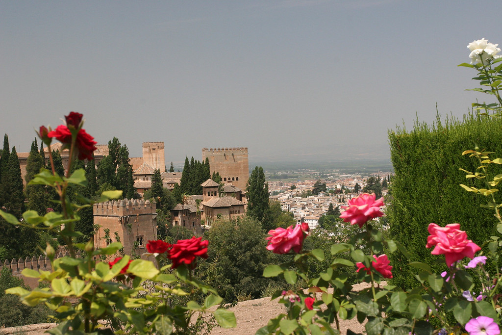 View of the Alhambra from the gardens of the Generalife, summer retreat of the royals