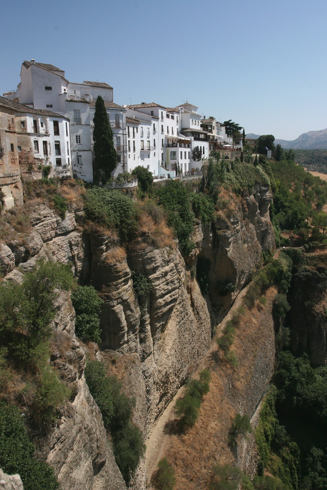 After Gibraltar we drive to the hill town of Ronda, where the old Moslem quarter on the left is separated from the Christian quarter by an old bridge, 300 ft above a stream