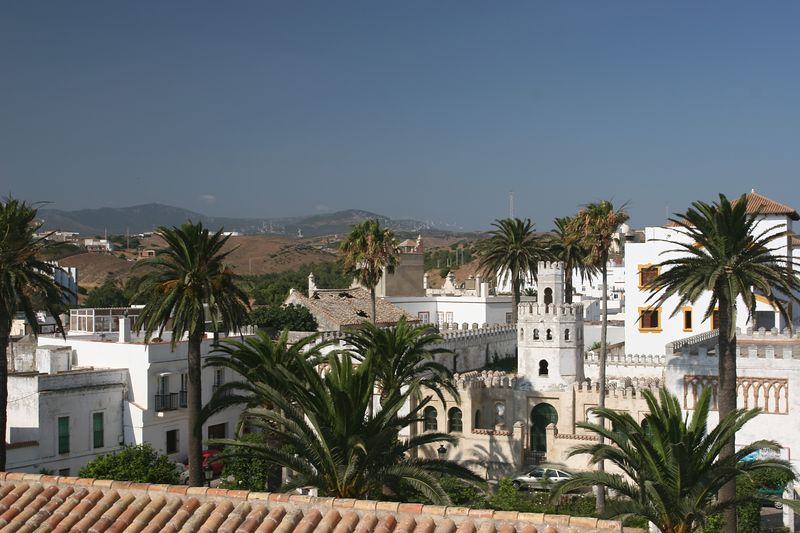 Old town Tarifa, with wind generators in the background