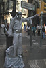 Silver Elvis, a human statue