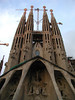 "Barelona, Sagrada Familia Cathedral, designed by Antonio Gaudy, whose name was given to the flashy style of anything ""gaudy"". Still under construction after 130 years"