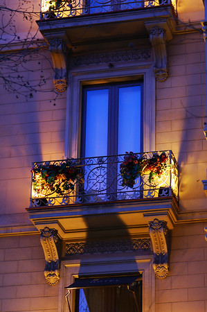 A balcony at sunset in Barcelona