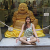 Samantha posing with yet another Buddha on her world tour