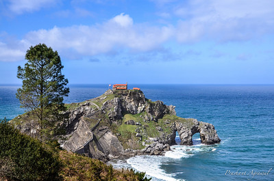 Panoramic view of the hermitage of San Juan de Gaztelugatxe located on tiny islet on the coast of Biscay in Basque Country (Spain)