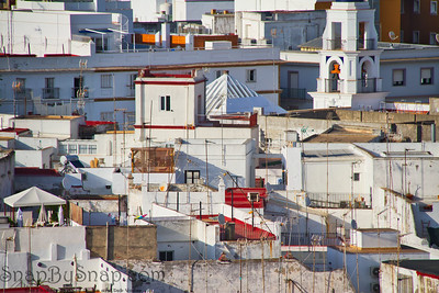 Whitewashed Buildings Compressed Together
