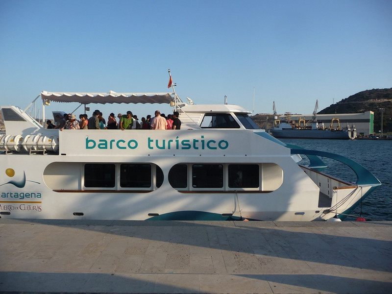 Tourist boat for our tour of the harbor of Cartagena