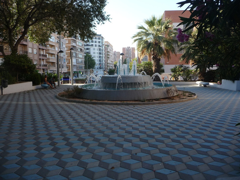 Fountain with fascinating Escher-style pavement near our hotel in Cartagena