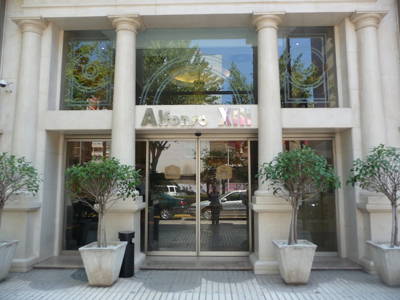 Front entry of our hotel the Alfonso XIII in Cartagena.