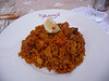 Paella served as tapas one evening--not very good, I'm afraid. I didn't like this tomato-laden kind.