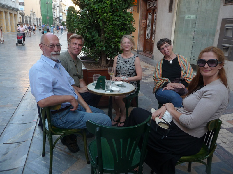 James and Connie Hamilton from Kansas State, Susan Feagin,  with Konstatine and Anna Proimos from Crete, having drinks one evening in Cartagena.