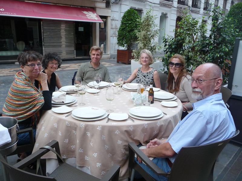 At dinner one evening: Connie Hamilton, Eileen John, Konstantinos Proimos, Suan Feagin, Anna Proimos, and Jim Hamilton.