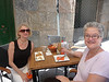 Susan and me at lunch in Cartagena, where I had the nice salad and she had curried chicken. This is later where she has the coffee flan  and I had my iced coffee drink.