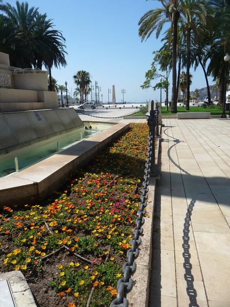 Purslane blooming around the memorial monument