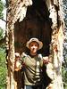 Luis Carrassco dentro de un arbol subiendo al Pedraforca