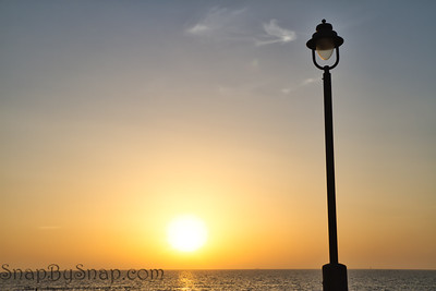 The Sunset with a Light Post