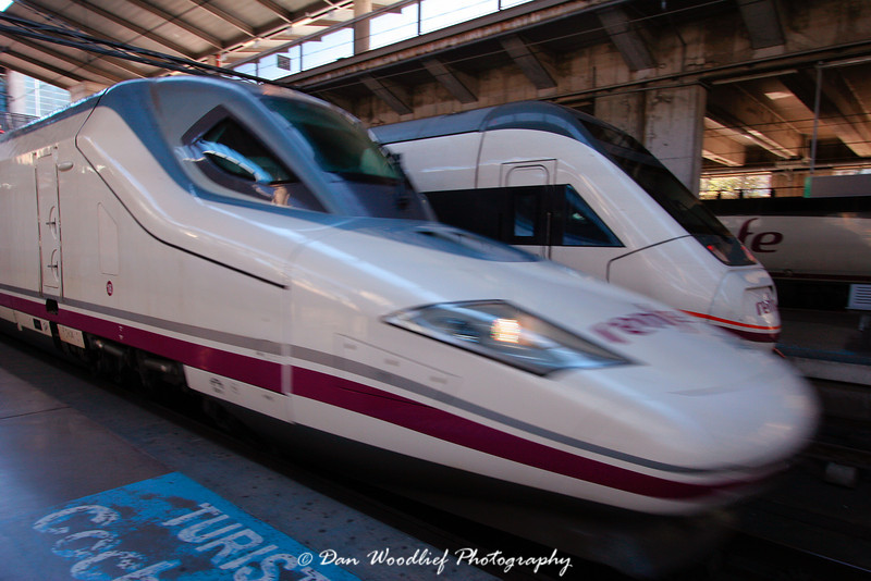 A high-speed AVE train departs Cordoba Central train station.