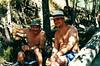 Miguel Angel y su tio haciendo vida de extremeños, sol vino y embutido iberico