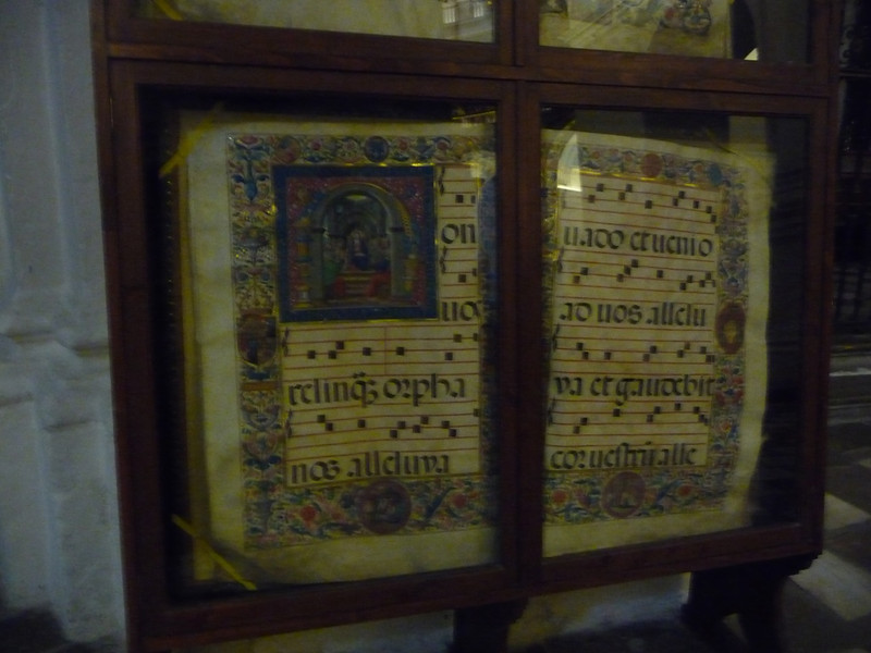 Illustrated music manuscript in the Cathedral