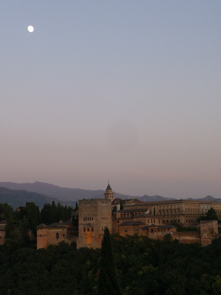 View of the Alhambra at Dusk with moon