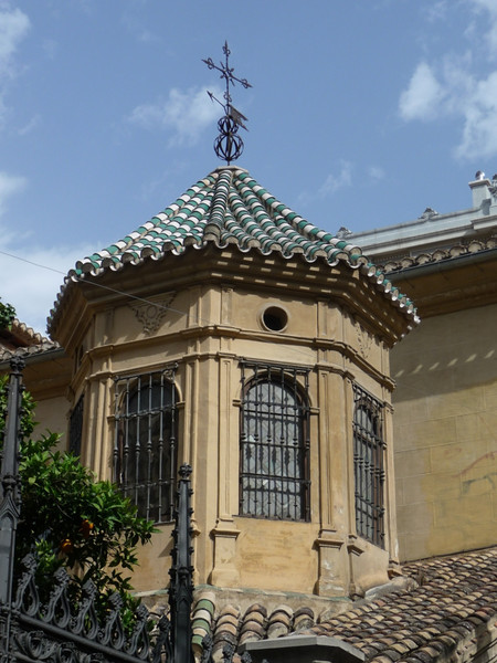 Interesting roof tiles on top of a tower at the Cathedral
