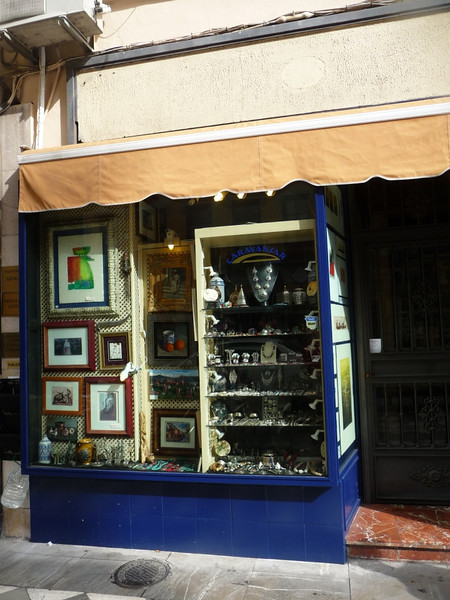Caravansar shop in Granada with some nice jewelry, wooden mosaic boxes, and art prints, just around the corner from our hotel (the Anacapri) in Granada.